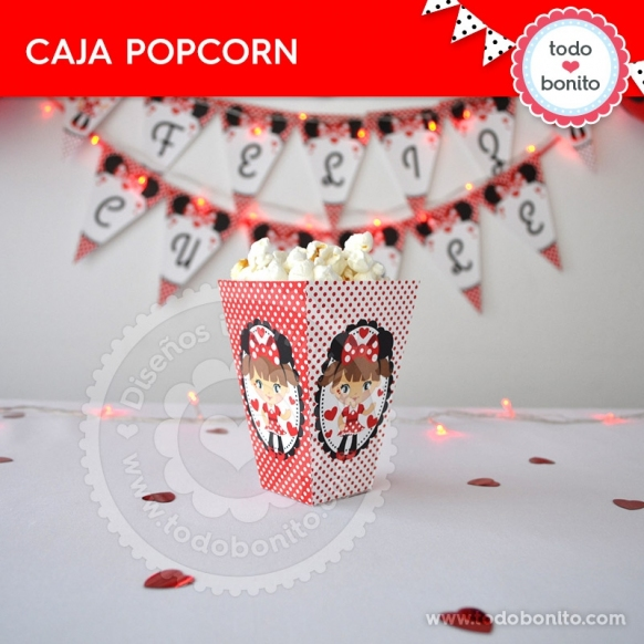 Caja Popcorn imprimible Orejas Minnie rojo por Todo Bonito <3