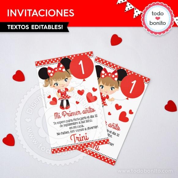 Invitaciones imprimibles Orejas Minnie rojo por Todo Bonito <3