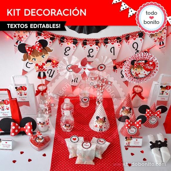 Decoracion Minnie Roja ~ Los Kits imprimibles inspirados en Minnie Mouse color rojo est?n