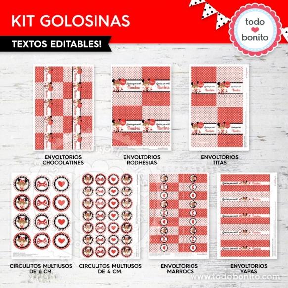 Kit imprimible Golosinas Orejas Minnie rojo por Todo Bonito <3
