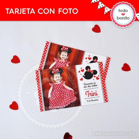 Tarjeta con foto imprimible Orejas Minnie rojo por Todo Bonito <3