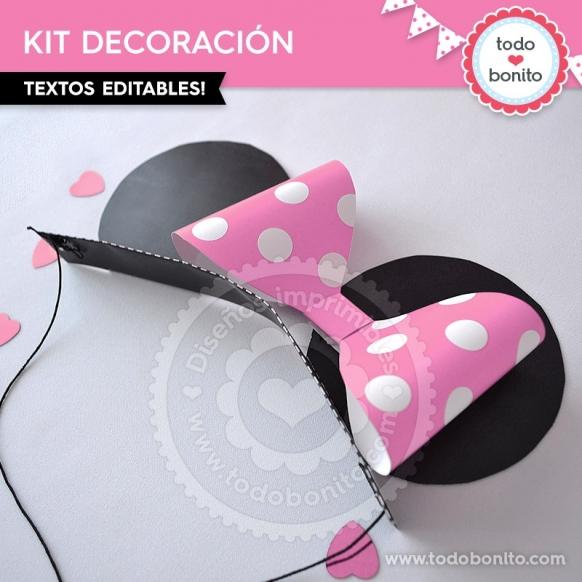 Kit imprimible Minnie Mouse rosa por Todo Bonito