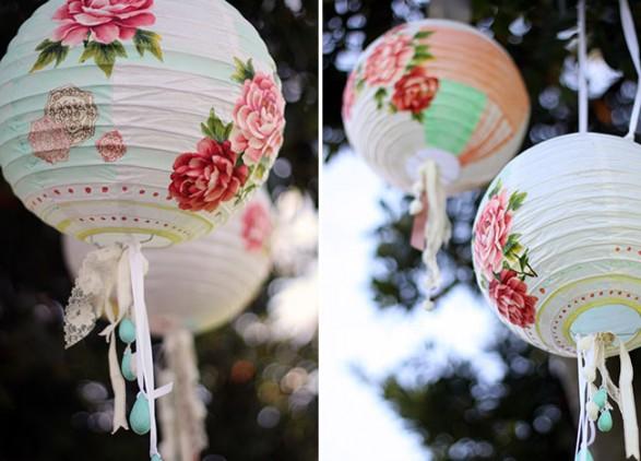 Lámparas de papel decoradas