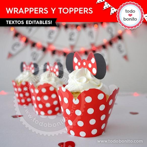 Wrappers y toppers imprimibles: Orejas Minnie rojo por Todo Bonito <3