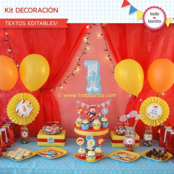 Kit Decoración Imprimible Circo Niños Todo Bonito