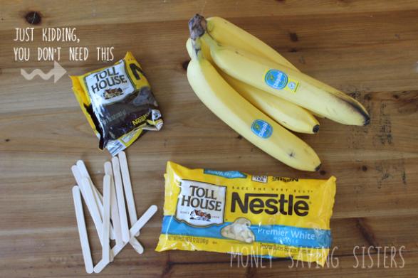 Ingredientes para las bananas fantasmas