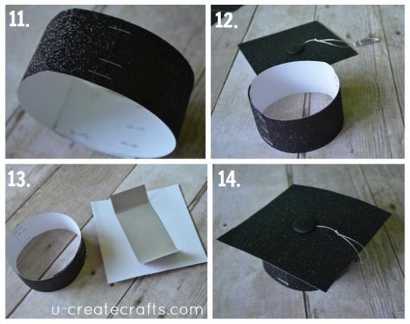 11. Crear la base de la tapa. Este diseño utiliza dos tiras de 15 cm