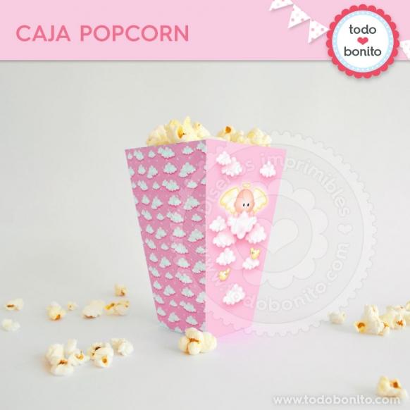 Cajita Popcorn Angelito rosa