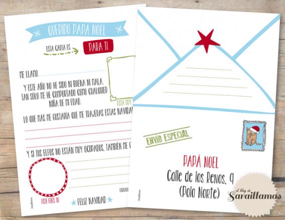 Carta a Papá Noel (Santa) para imprimir gratis