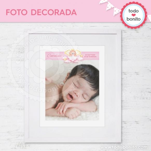 Foto decorada angelito rosa