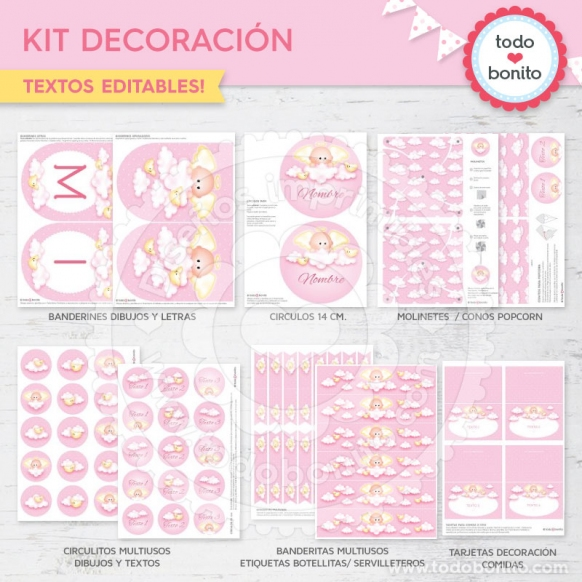 Kit decoración angelito rosa