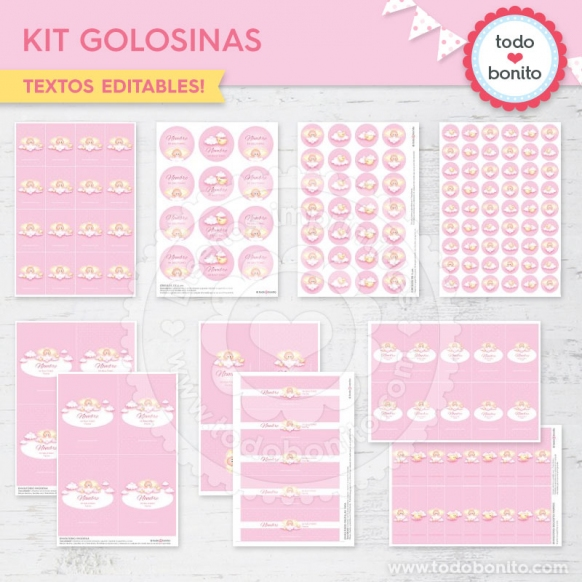 Kit golosinas angelito rosa