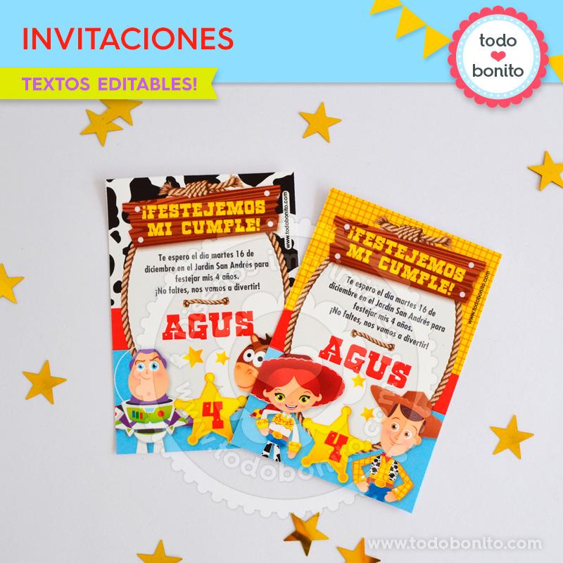 Invitaciones imprimibles con Kit Toy Story by Todo Bonito