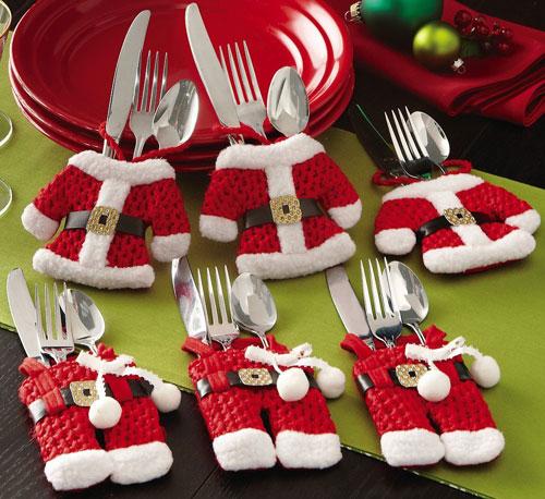 Cubiertos vestidos Mesa navideña infantil