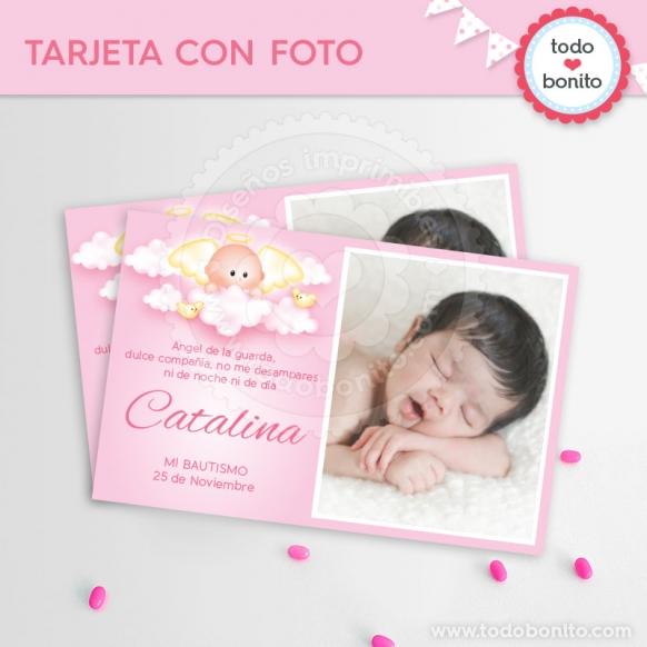 tarjeta con foto angelito rosa