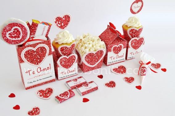 kit imprimible Corazón Glitter Rojo