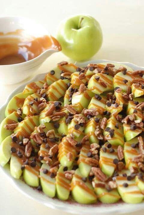 Manzanas caramelo y chispas de chocolate