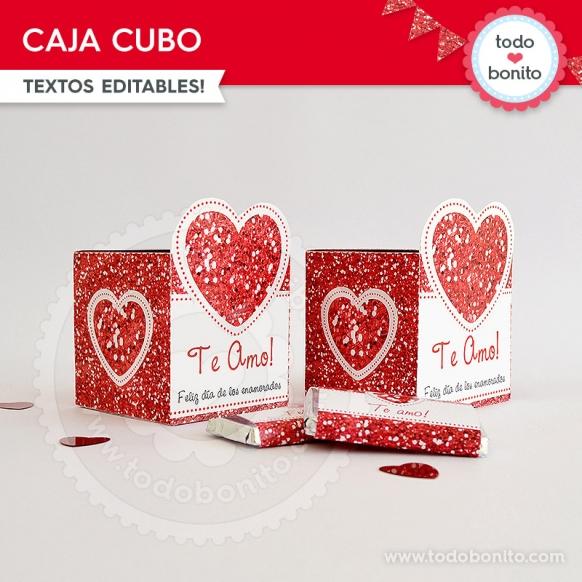 Caja Cubo Kit Glitter Rojo