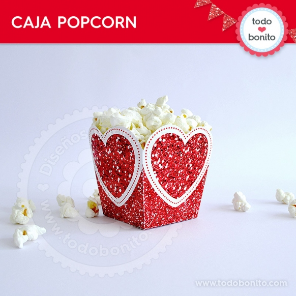 Caja Popocorn Kit Glitter Rojo