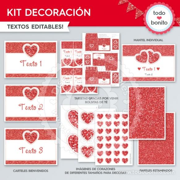 Decoración Kit Glitter Rojo