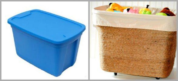 Forrando la caja plástica