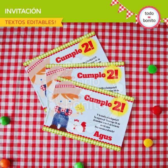 Invitacion cumpleaños Granja NENES