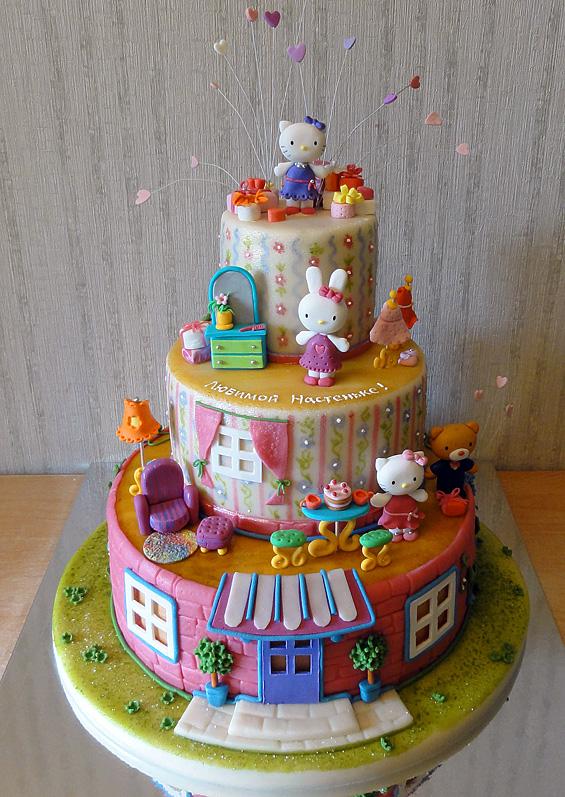 Toda la casa de Kitty en una torta
