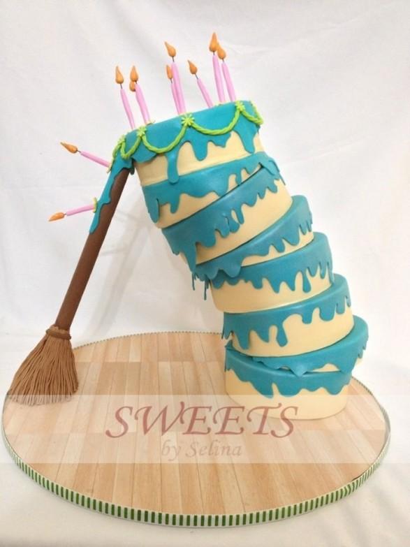 Torta pasteles y escoba