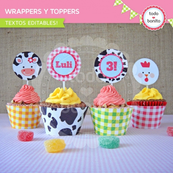 Wrappers y Toppers Granja NENAS