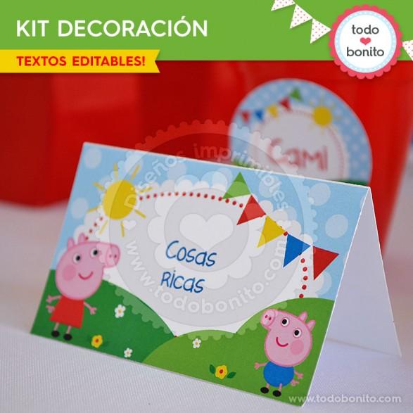 Peppa Pig: decoración de fiesta imprimible