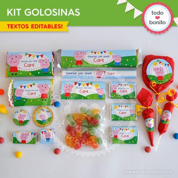 Peppa Pig: kit etiquetas de golosinas