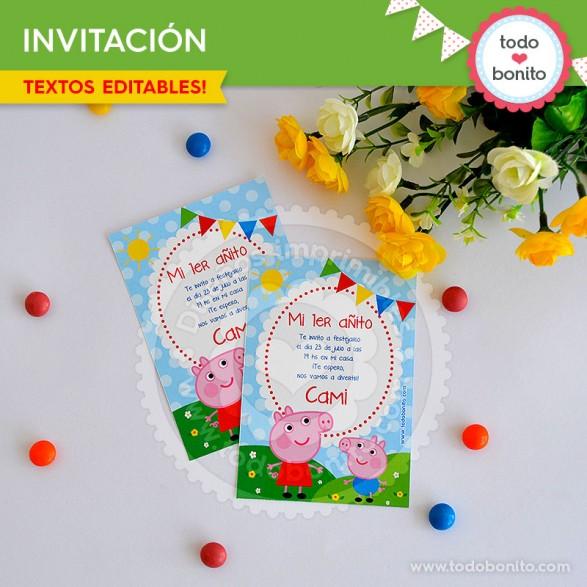 Peppa Pig: invitación para imprimir