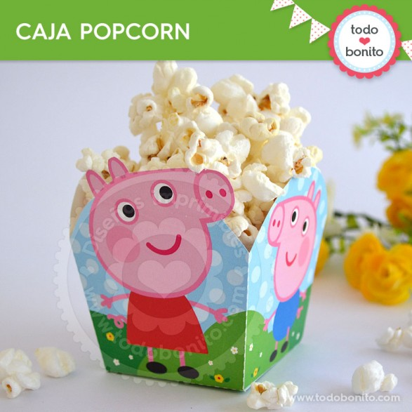 Peppa Pig: caja popcorn para imprimir