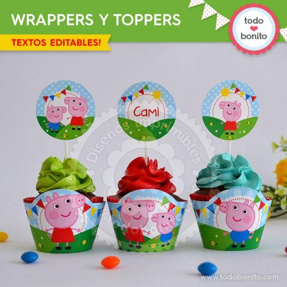 Peppa Pig: wrappers y toppers para cupcakes