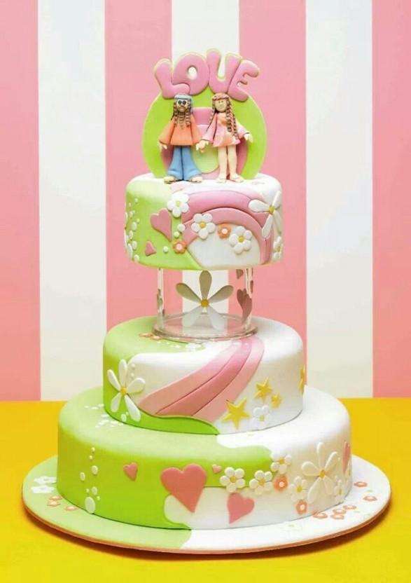 Torta en colores pasteles