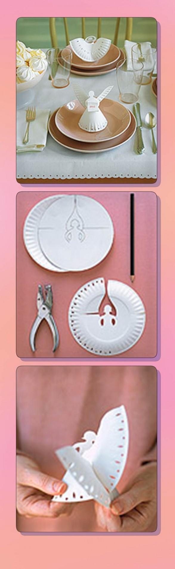 Ángel decorativo con plato descartable