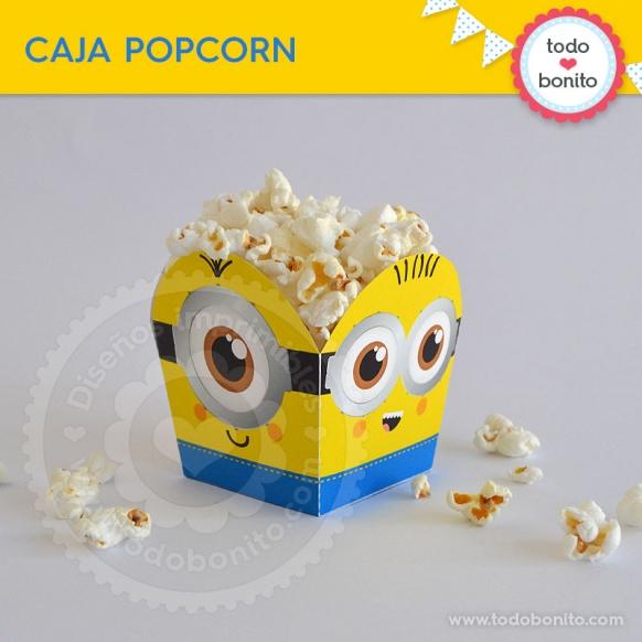 Cajita popcorn del kit imprimible de Minions