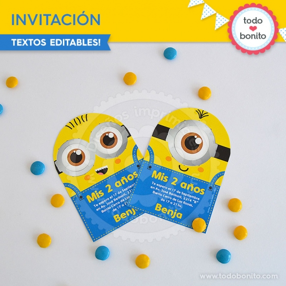 Invitaciones imprimibles Minions por Todo Bonito