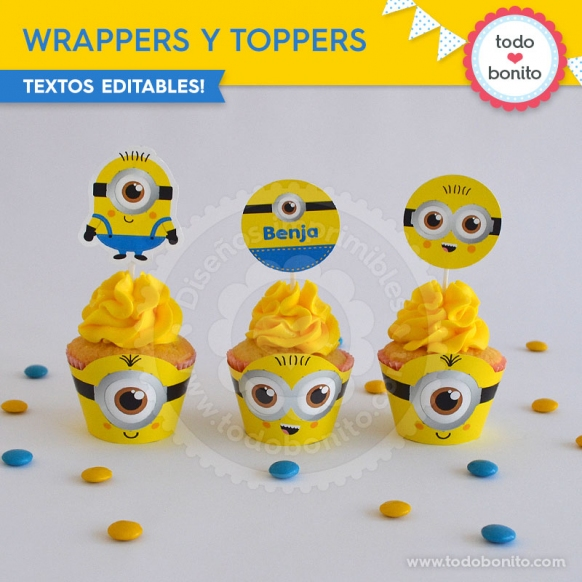 Wrappers toppers del kit imprimible de Minions