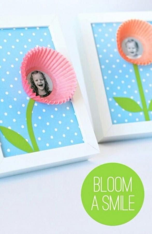 Cuadros con fotos en flores de moldes de muffins