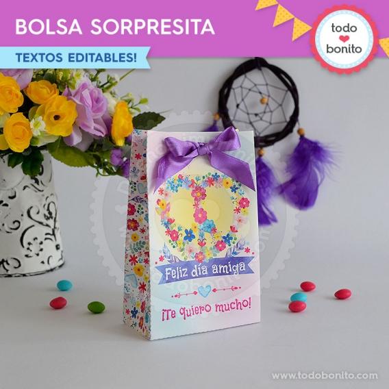 Bolsa sorpresita de Amor & Paz - Kits imprimibles por Todo Bonito