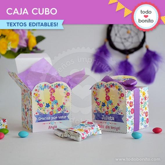 Caja cubo de Amor & Paz - Kits imprimibles por Todo Bonito