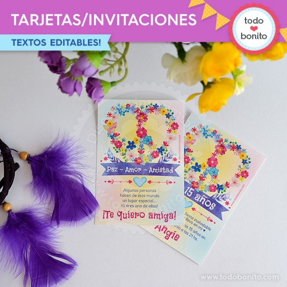 Amor & Paz tarjeta invitación