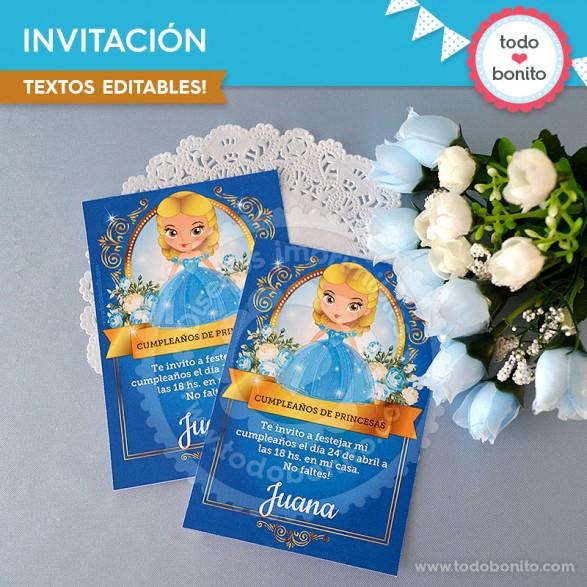 Invitaciones Cenicienta para imprimir