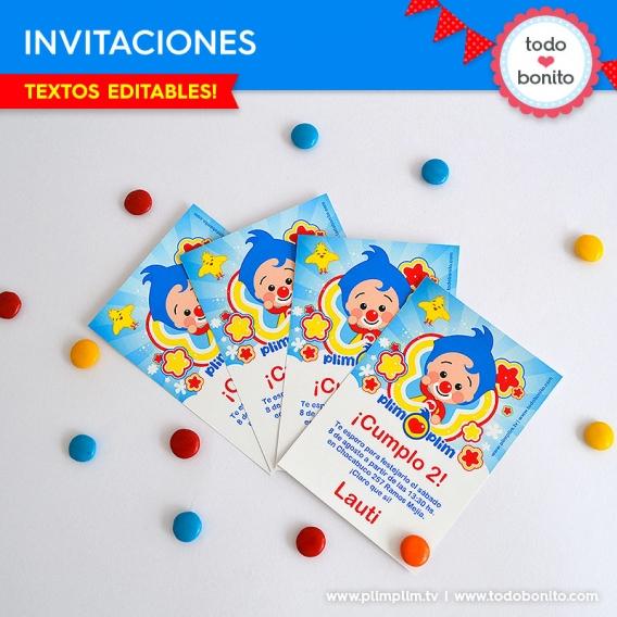 Invitaciones del kits imprimible de Plim Plim