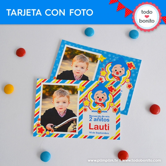 Tarjeta con foto del Kits imprimible de Plim Plim