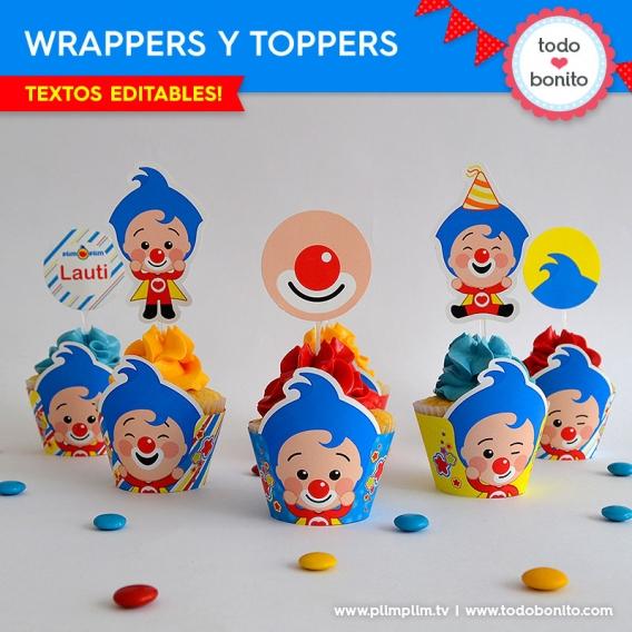 Wrappers y toppers del Kits imprimibles Plim Plim