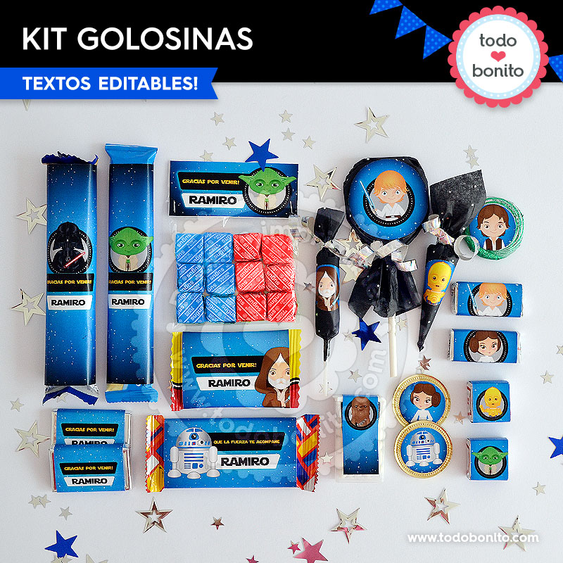 Kit imprimible golosinas Star Wars