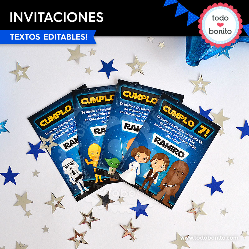 Kit imprimible invitaciones Star Wars
