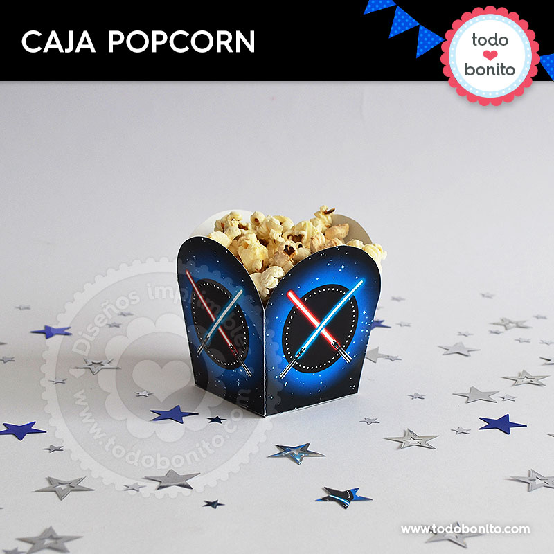 Kit imprimible caja popcorn Star Wars